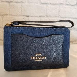 Coach Denim Leather Corner Zip Wristlet Wallet New